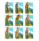 Tourists Hiking in Mountains with Backpacks Set, People in Summer Mountain Landscape, Outdoor Activity, Travel, Camping, Backpacking Trip or Expedition Vector Illustration on White Background.
