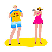Tourists man and woman taking a photo of a yellow t-shirt. Vector illustration in flat cartoon style