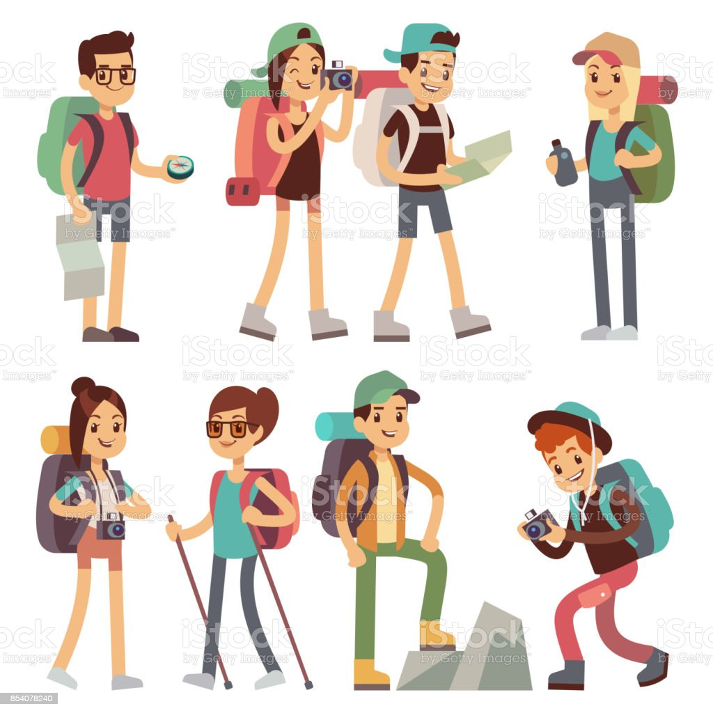 Tourists people characters for hiking and trekking, holiday travel vector concept vector art illustration