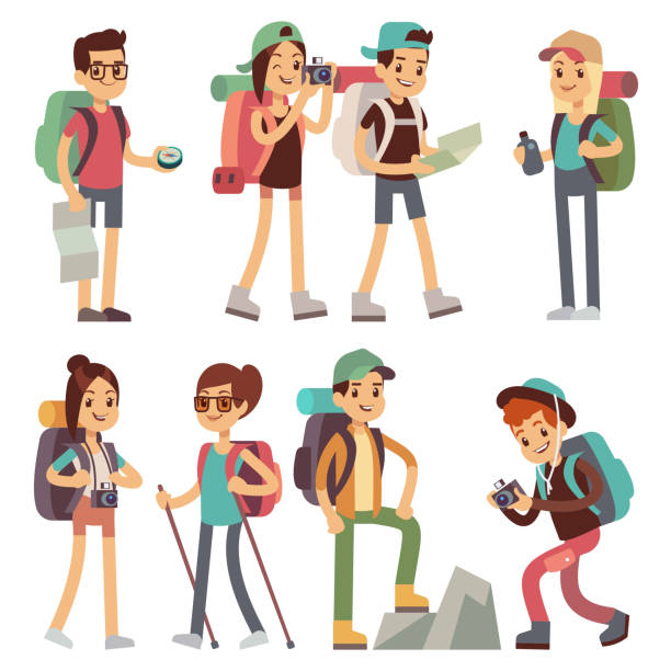 Tourists people characters for hiking and trekking, holiday travel vector concept Tourists people characters for hiking and trekking, holiday travel vector concept. Tourist character man and woman, hiker and tourism illustration mountain climbing stock illustrations