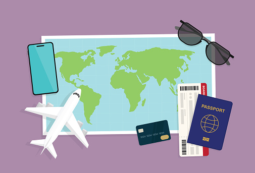 Tourists plan a trip on vacation