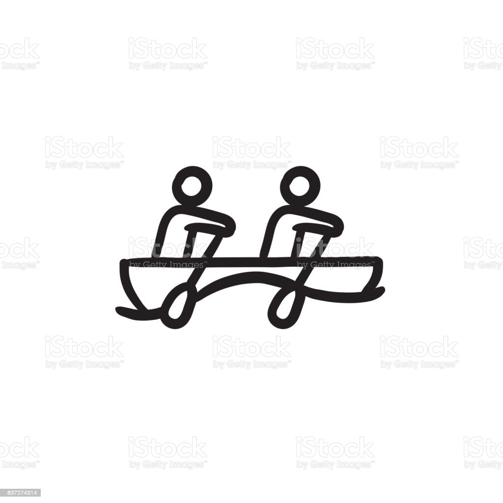 Tourists sitting in boat sketch icon vector art illustration