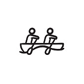 Tourists sitting in boat sketch icon