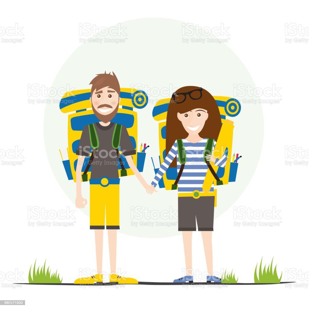 Turistler üzerinde beyaz izole sırt çantaları ile. royalty-free turistler üzerinde beyaz izole sırt çantaları ile stok vektör sanatı & adamlar'nin daha fazla görseli