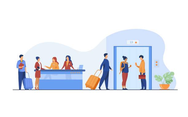 туристы с багажом ждут на стойке регистрации отеля - hotel reception stock illustrations