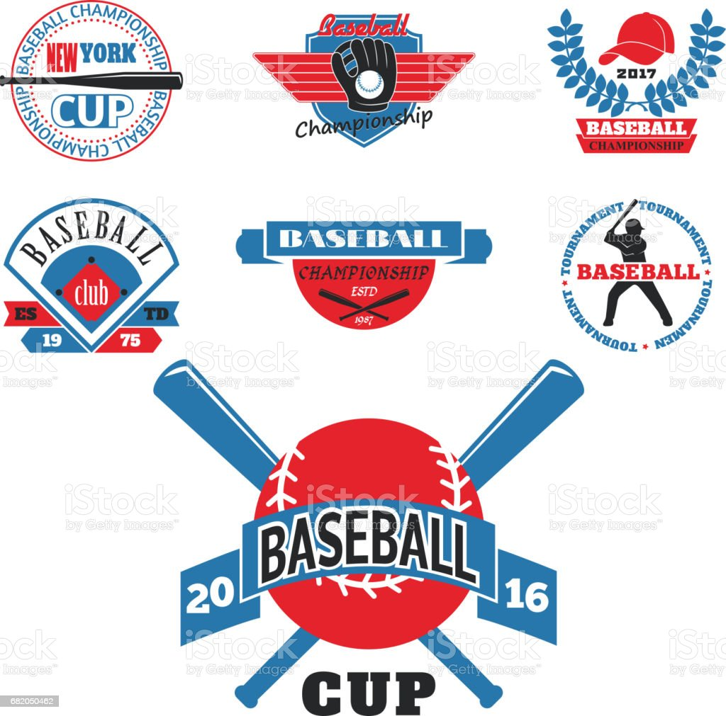 Tournament competition graphic champion professional blue red baseball icon badge sport vector vector art illustration