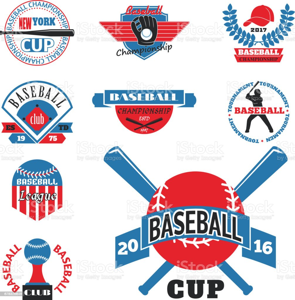 Tournament competition graphic champion professional blue red baseball logo badge sport vector vector art illustration