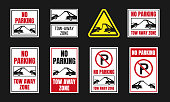 no parking, tow away zone sign set