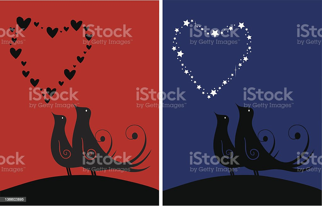 Tow loving couple vector art illustration