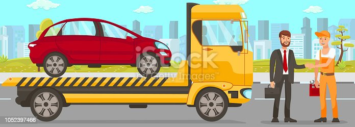 Tow Truck and Driver Services in City. Transportation company Business. Tow Truck Service and cityscape Concept. Car Evacuation, Roadside Assistance and Emergency Services. Vector Flat Illustration.