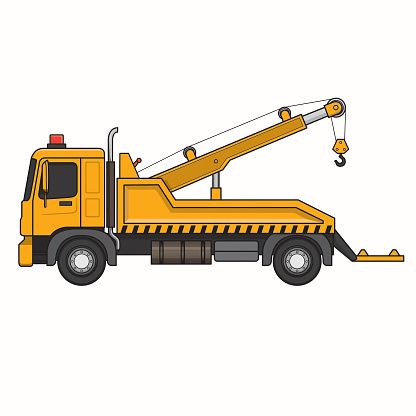 Tow truck breakdown truck wrecker lorry machine vehicle. Colorful for coloring, children book.