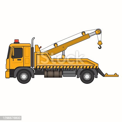 istock Tow truck breakdown truck wrecker lorry machine vehicle. Colorful for coloring, children book. 1296676800