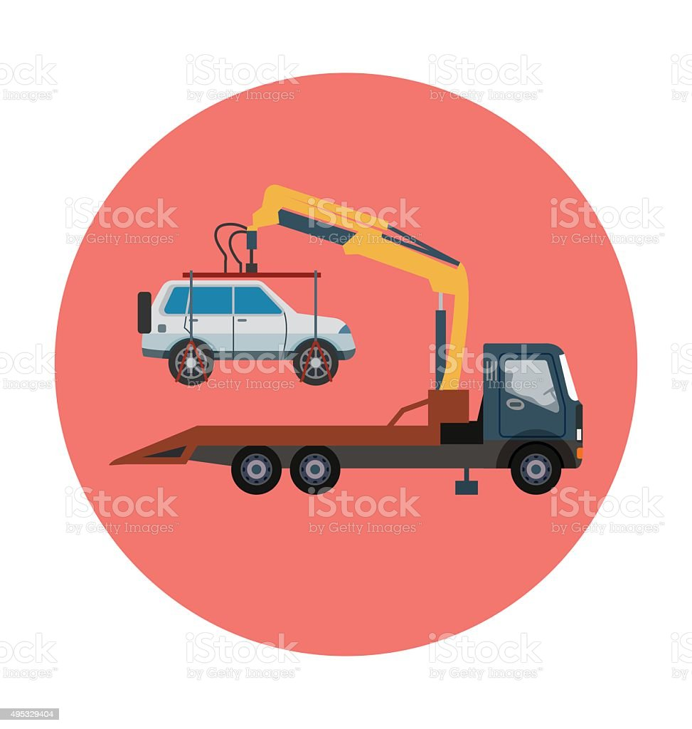 Tow Truck Colored Vector Icon vector art illustration
