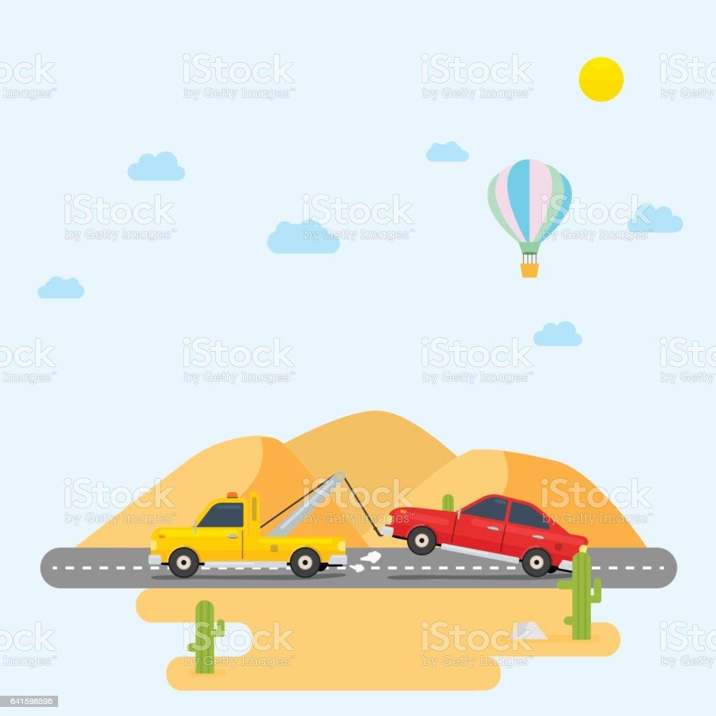 Tow Truck Desert vector art illustration
