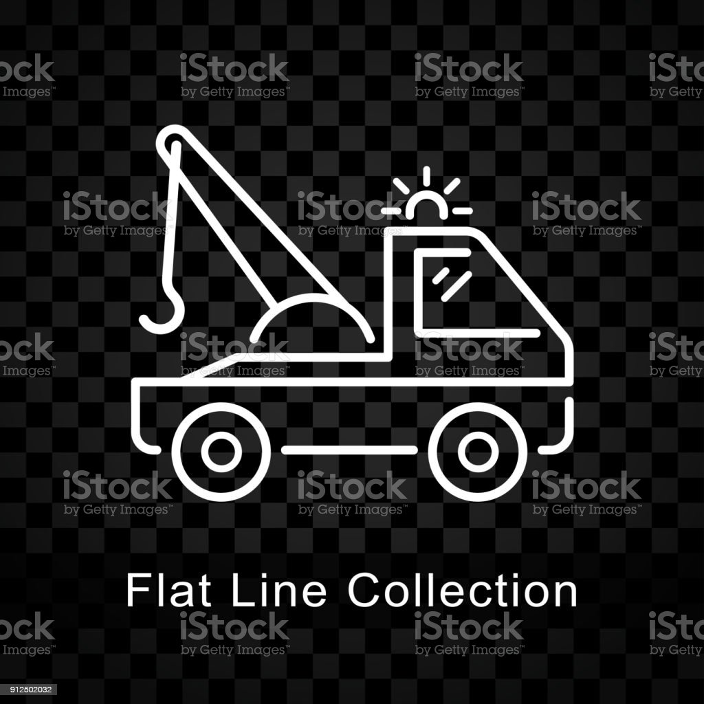 tow truck icon on checkered background vector art illustration