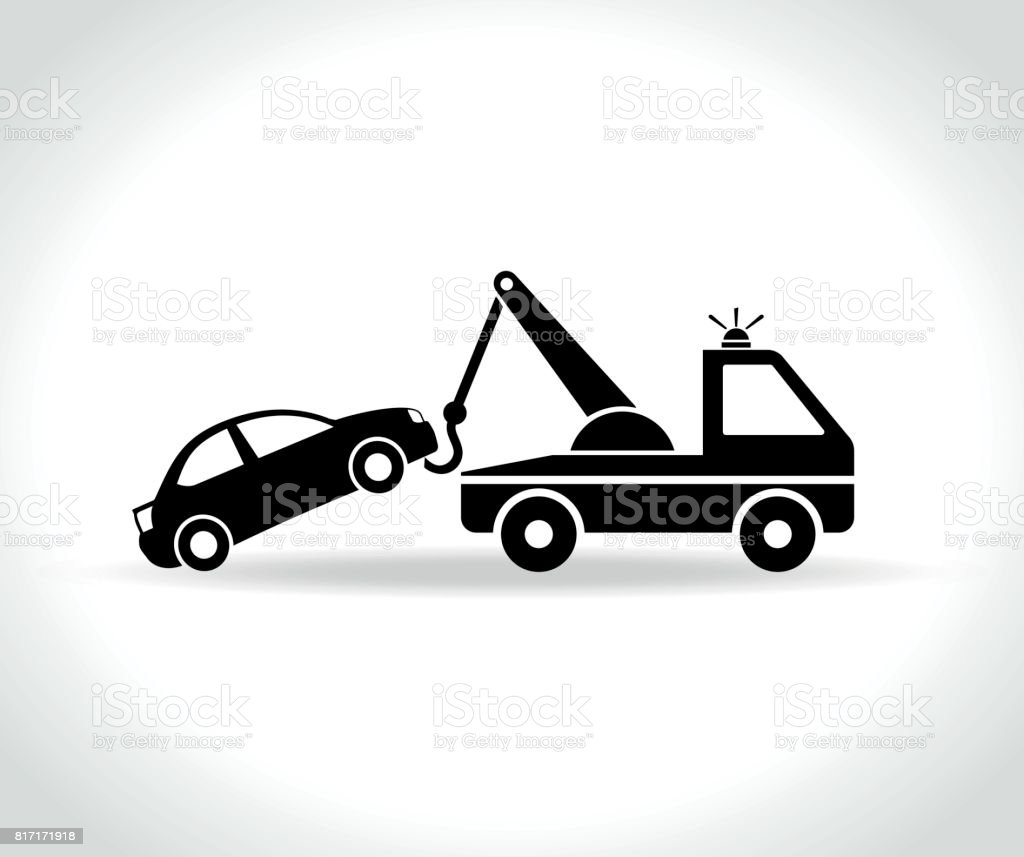 tow truck icon on white background vector art illustration