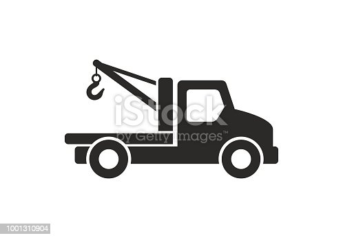 Tow truck icon, Monochrome style. isolated on white background