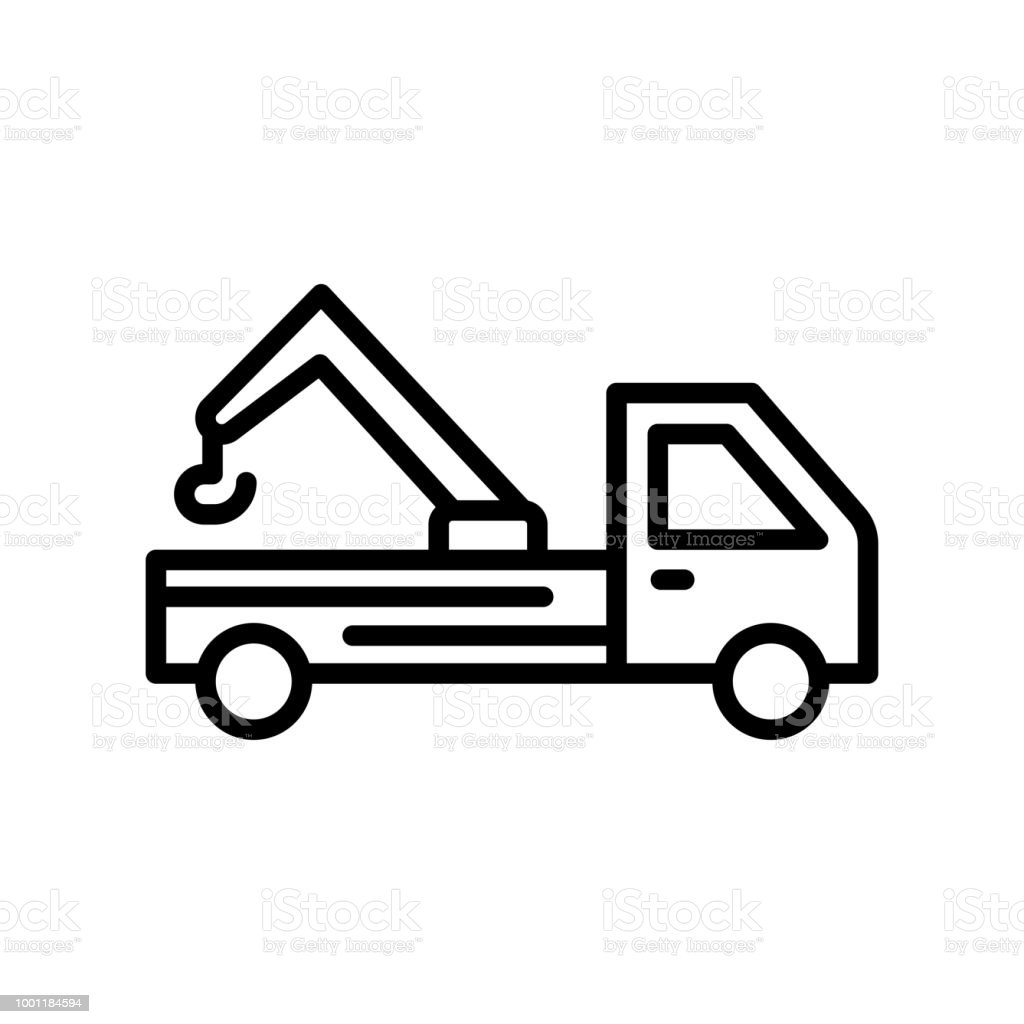 Tow Truck Icon Vector Sign And Symbol Isolated On White Background