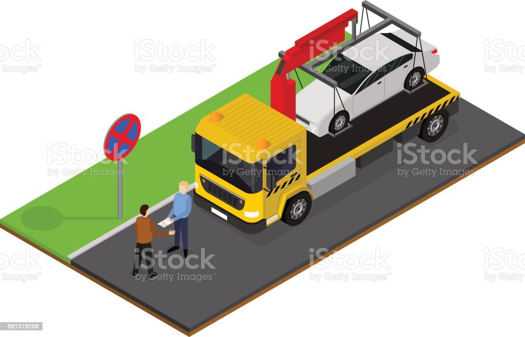 Tow Truck Isometric View. Vector vector art illustration