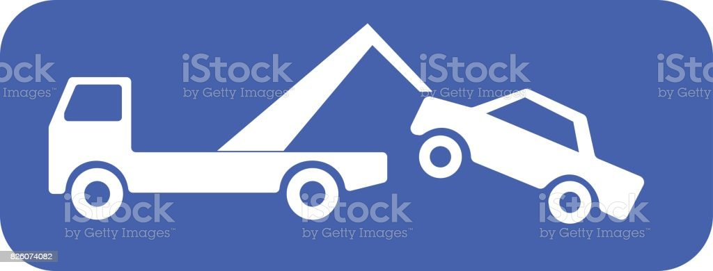 Tow truck lifting a car vector art illustration