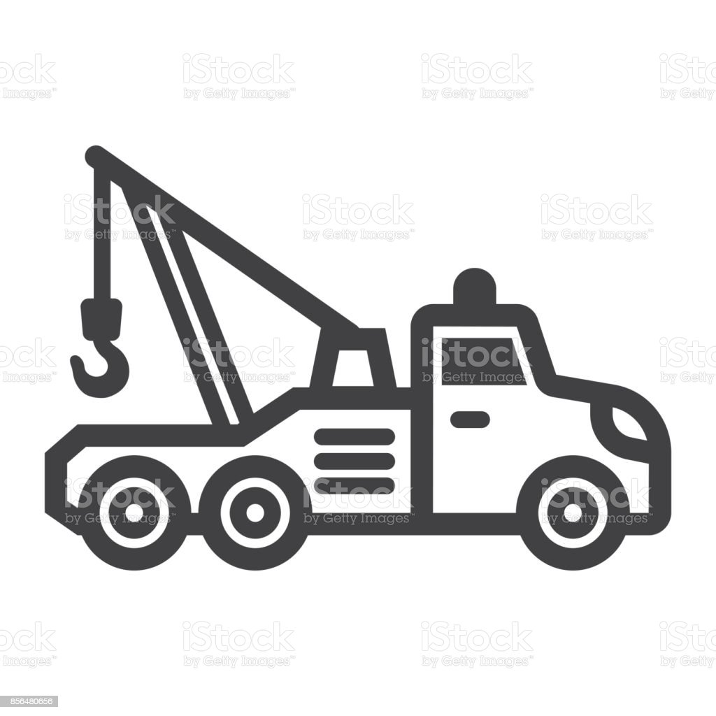 Tow truck line icon, transport and vehicle, service sign vector graphics, a linear pattern on a white background, eps 10. vector art illustration