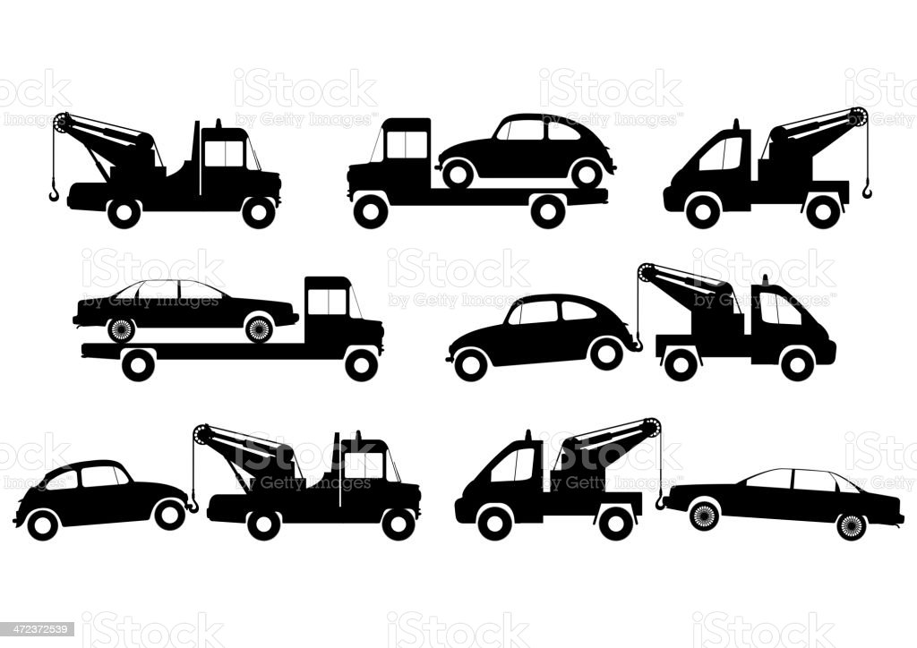Tow truck silhouettes vector art illustration