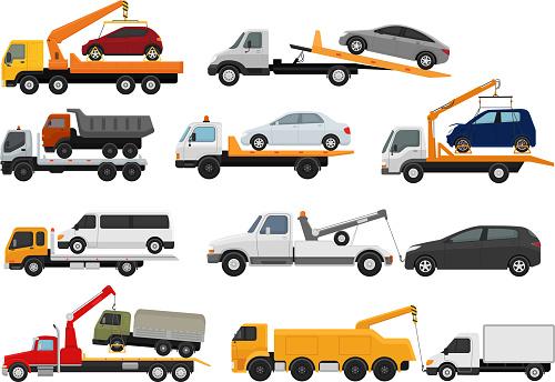 Tow truck vector towing car trucking vehicle transportation towa