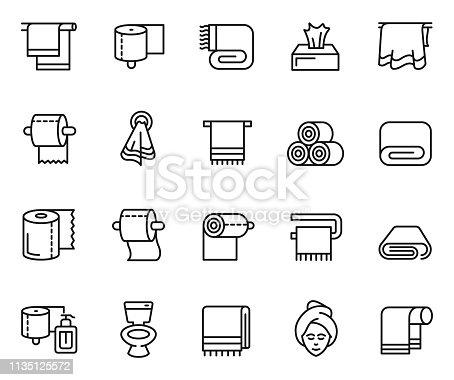 Towel and napkin icon set , vector illustration