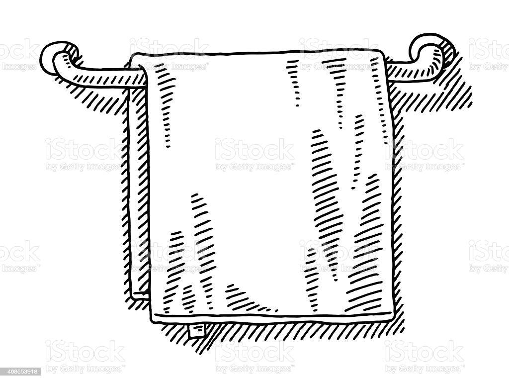 Handtuch Hängen Auf Einem Rail Badezimmer Zeichnen Lizenzfreies Vektor  Illustration