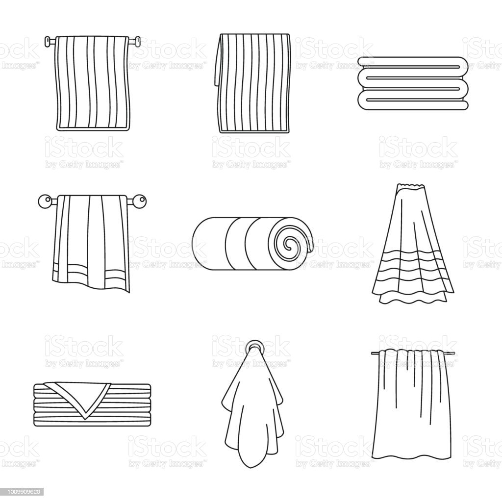 Towel Hanging Spa Bath Icons Set Outline Style Stock Vector Art ...
