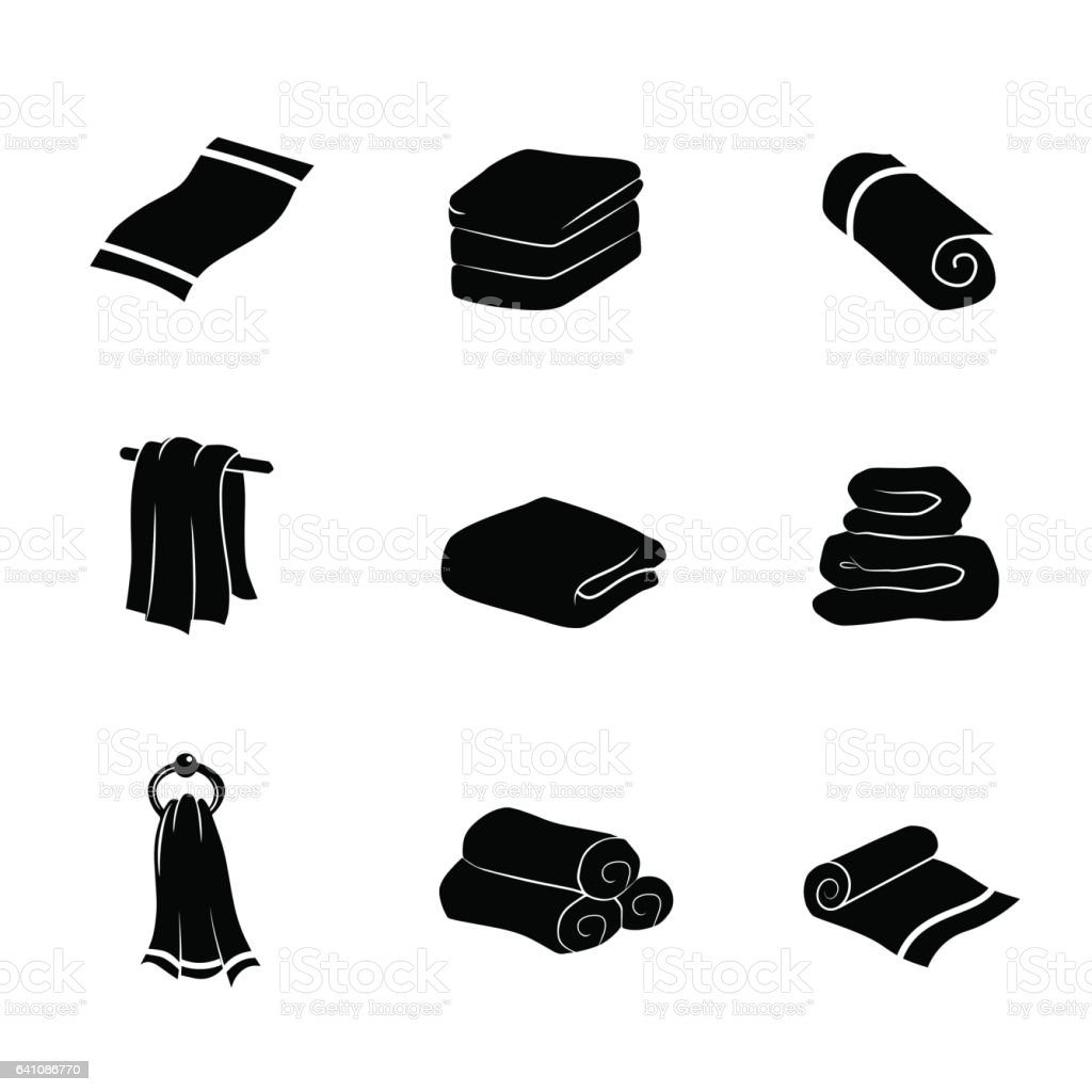 Towel icon set isolated on white background. Vector art. vector art illustration