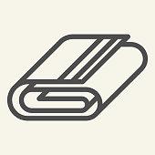 Towel line icon. Bathroom folded towel symbol, outline style pictogram on beige background. Hotel lingerie sign for mobile concept and web design. Vector graphics