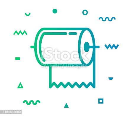 Towel outline style icon design with decorations and gradient color. Line vector icon illustration for modern infographics, mobile designs and web banners.
