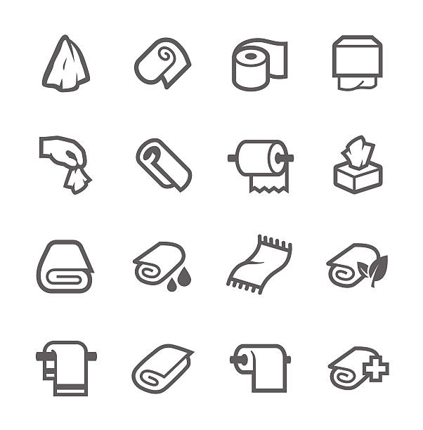 stockillustraties, clipart, cartoons en iconen met towels and napkins icons - servet