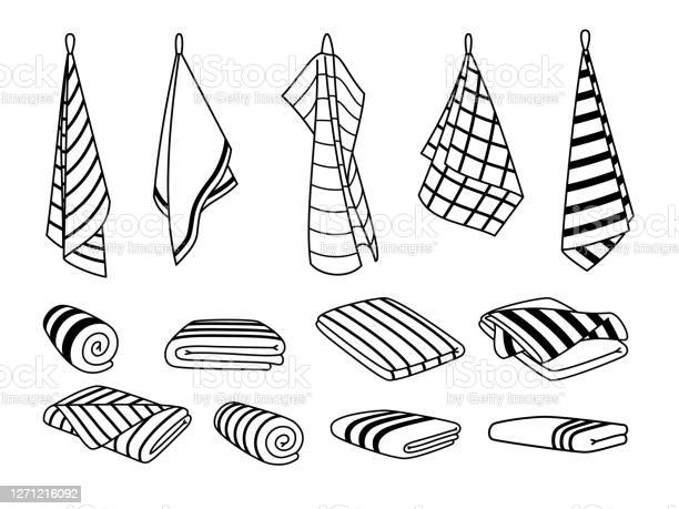 Towels For Kitchen Icons Hand Drawn Cute Clean Items For Drying Cartoon Hanging And Stacked Towel Set Stock Illustration Download Image Now Istock