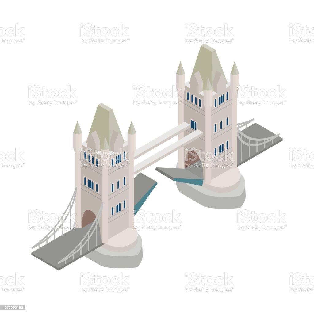 Tower Bridge in London icon, isometric 3d style vector art illustration