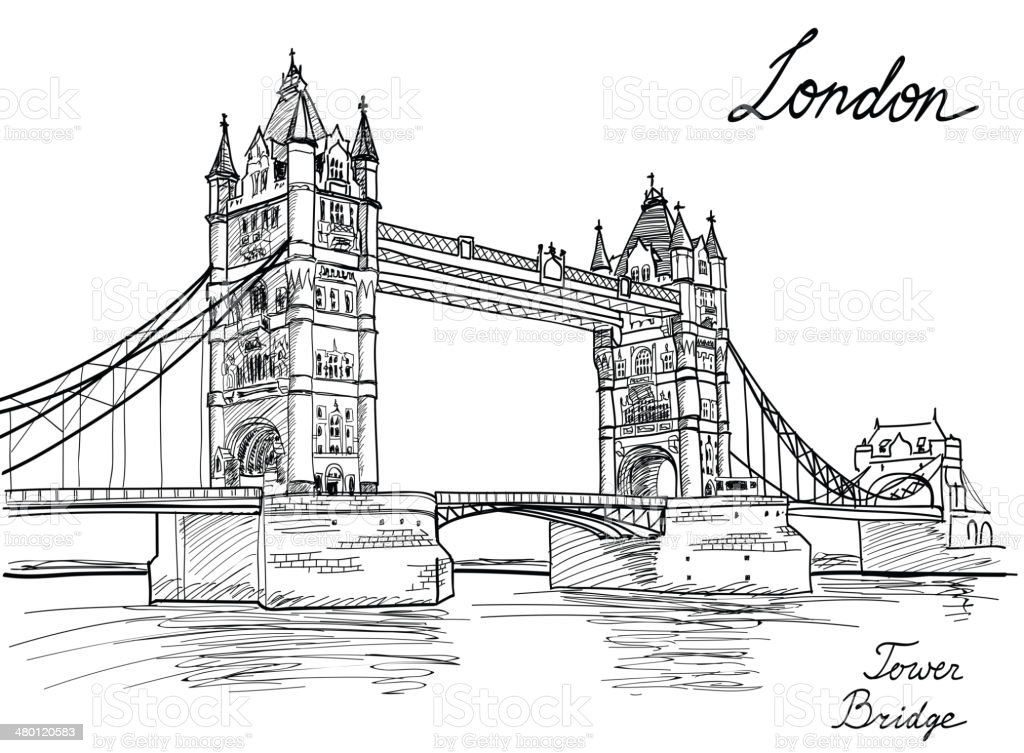 Line Drawing Wallpaper Uk : Tower bridge london england uk landmark sketch background
