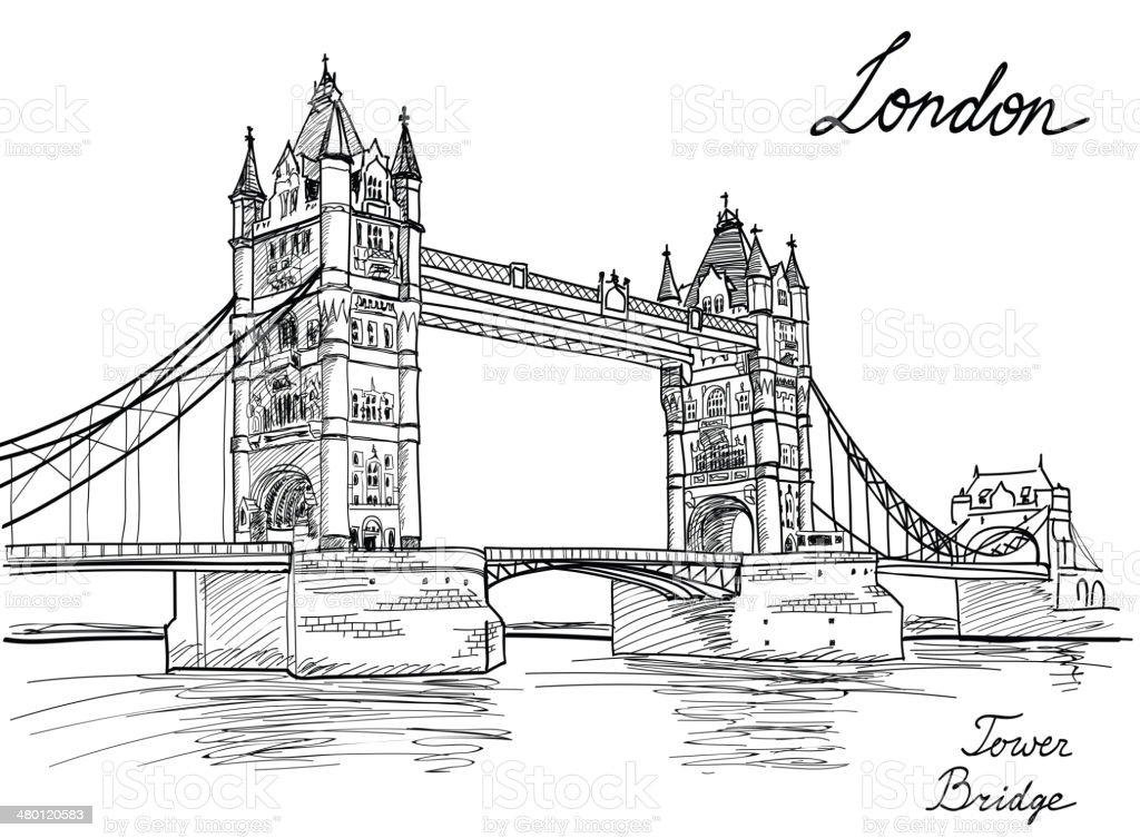 Tower Bridge, London, England, UK. Landmark sketch background. vector art illustration