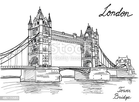 Tower Bridge London England Uk Landmark Sketch Background