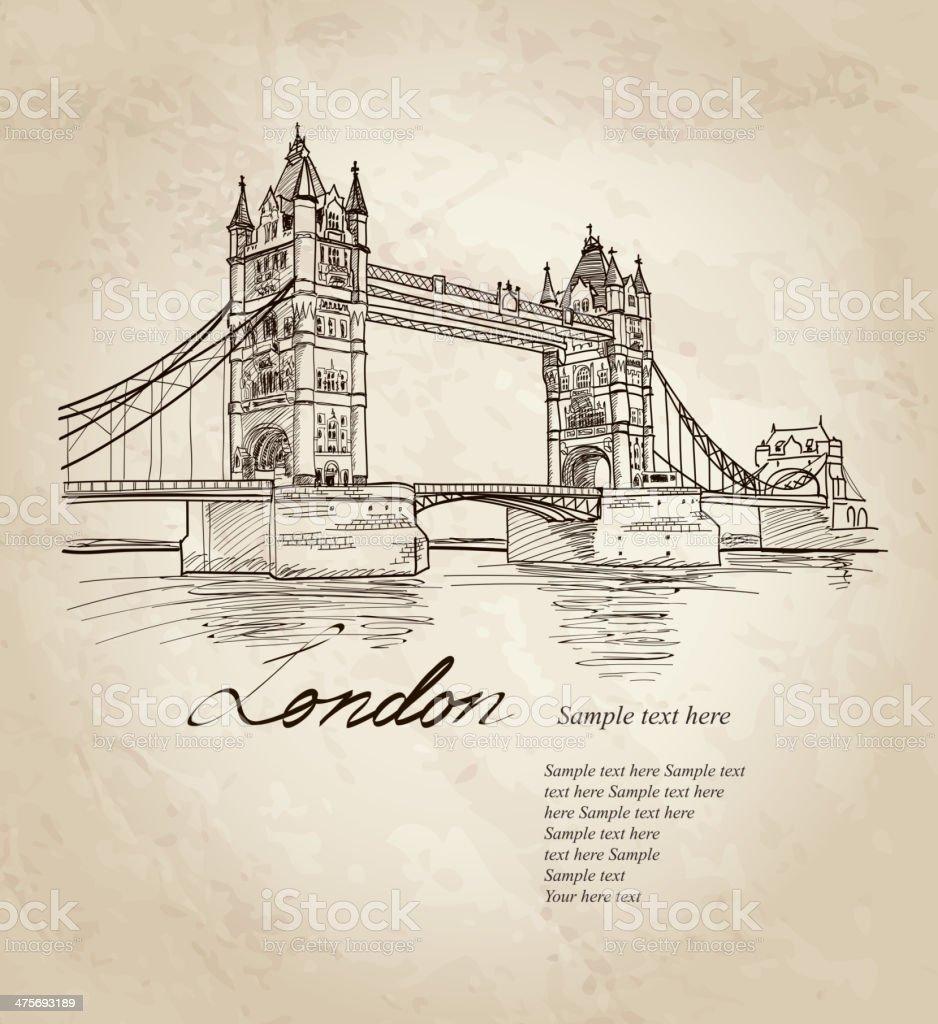 Tower Bridge, London, England, UK. Travel card. vector art illustration