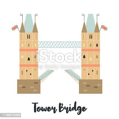 Tower Bridge London famous landmark isolated on white background. Vector illustration