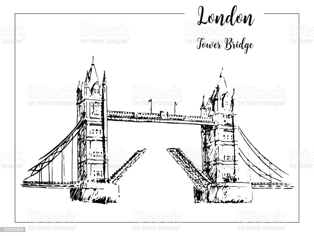 Tower Bridge London Symbol Beautiful Hand Drawn Vector Sketch Illustration Stock Vector Art ...