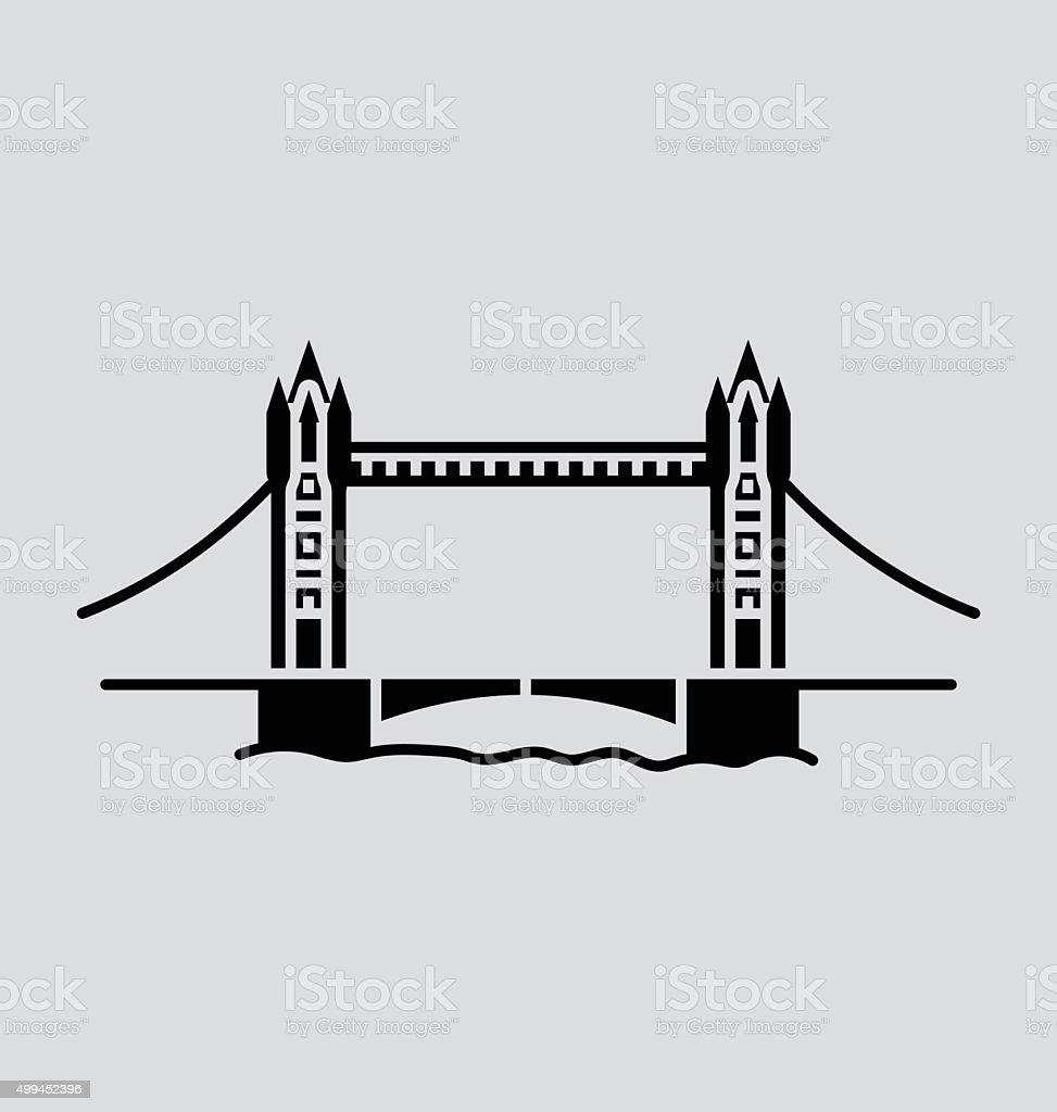 Tower Bridge Solid Vector Illustration vector art illustration