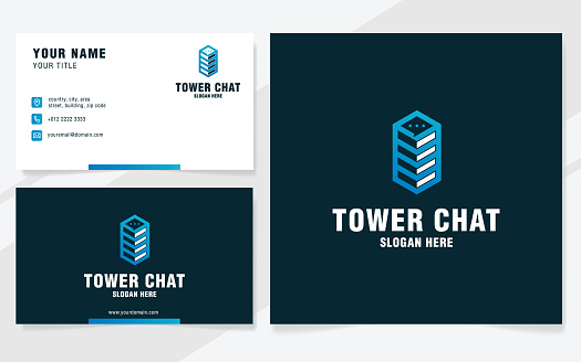 Tower chat logo template on modern style