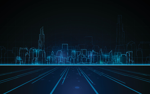 tower cityscape blue light design tech sci fi concept background clipart