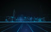 tower cityscape blue light design tech sci fi concept background