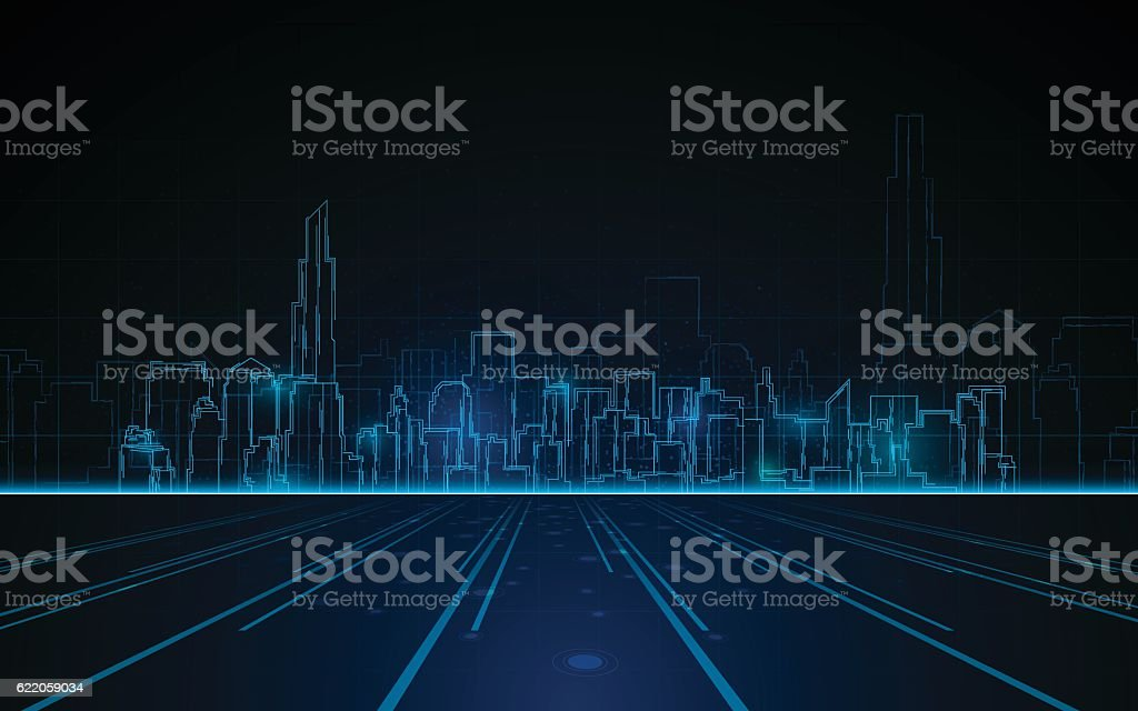 tower cityscape blue light design tech sci fi concept background vector art illustration