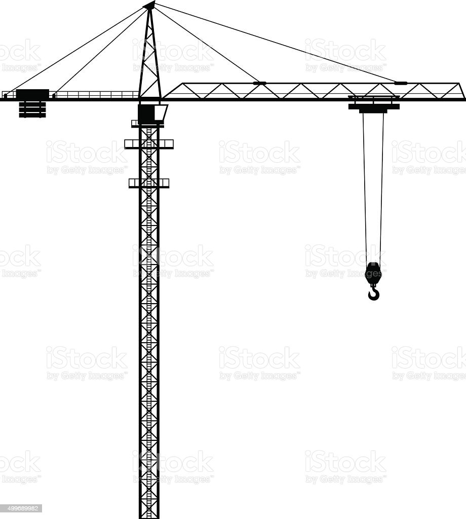Tower crane shape vector art illustration