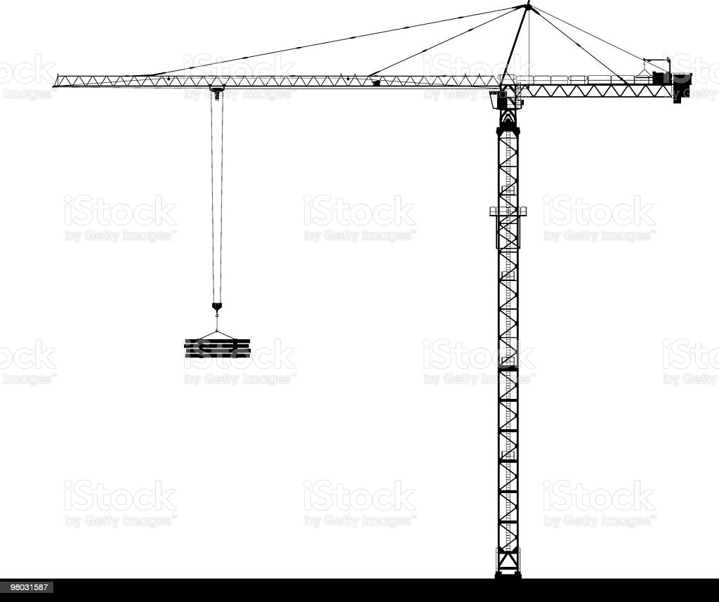 tower crane side view royalty-free tower crane side view stock vector art & more images of black and white