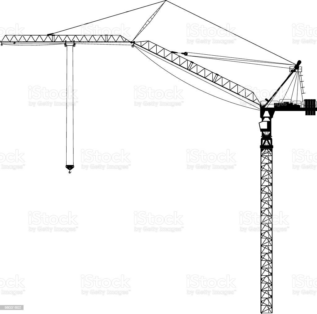 tower crane side view royalty-free tower crane side view stock vector art & more images of boom